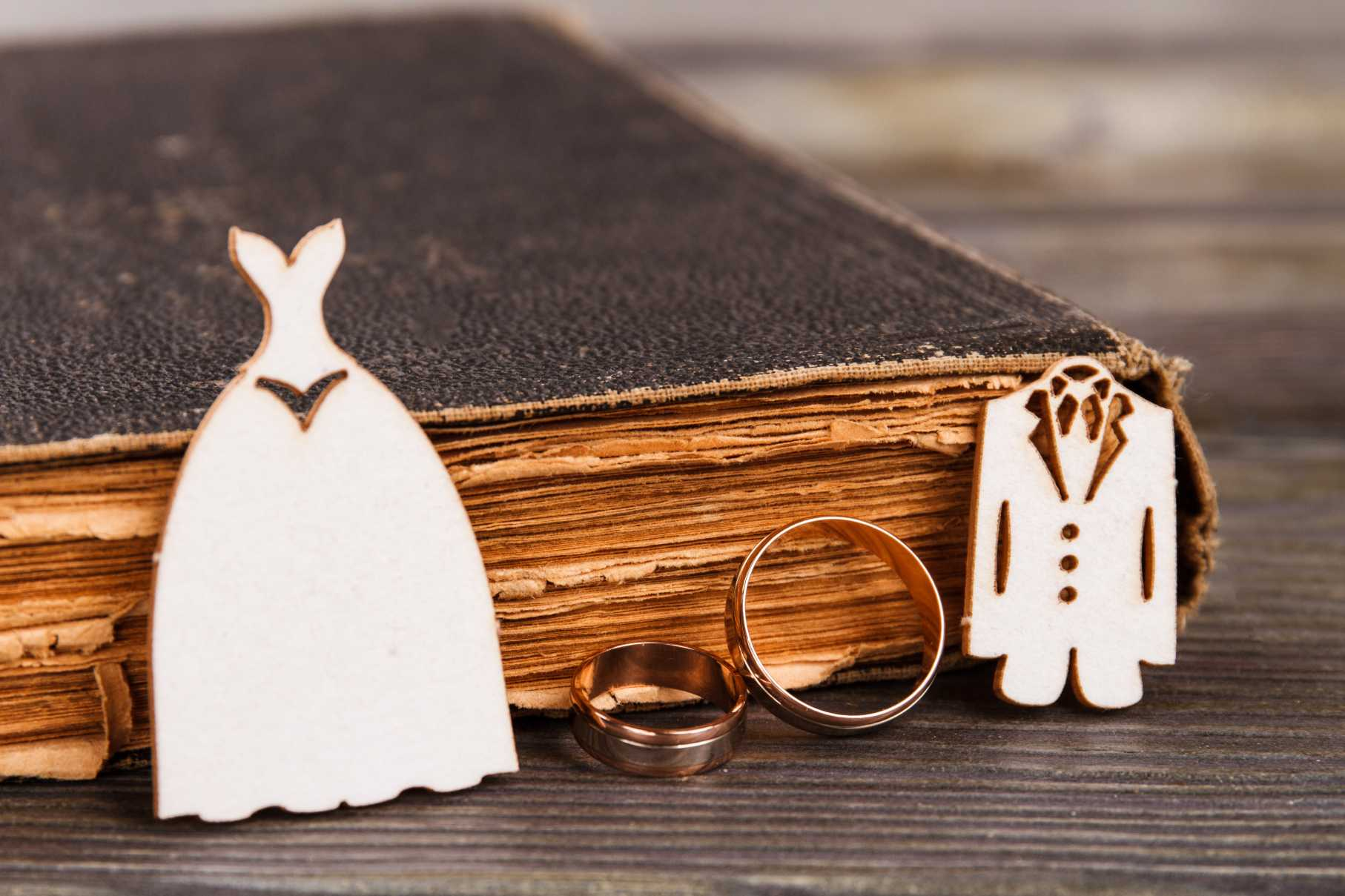 Wedding rings costumes and old book. Close-up bible and golden rings.