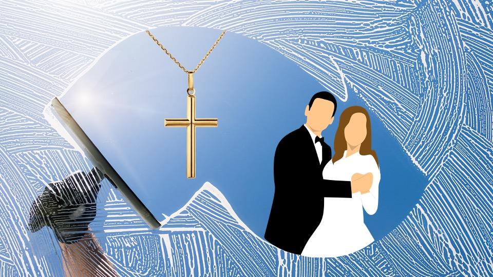 Bruidspaar in etalage